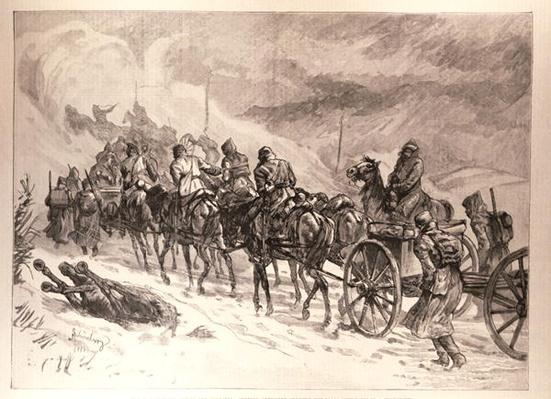 The War Between Servia and Bulgaria: Servian Artillery Crossing the Ploca Mountains in a Snowstorm