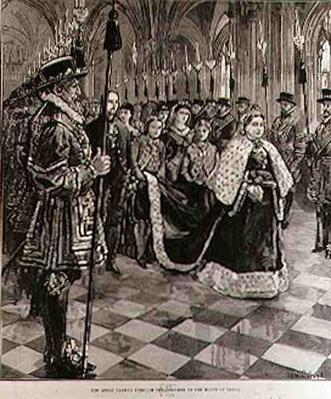 The Queen Passing through the Corridor to the House of Lords, from 'The Illustrated London News', 30th January 1886