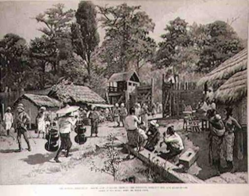 The Burmah Expedition: South Gate of Bhamo Showing the Stockade, Look-Out Hut and Guard-House, from 'The Illustrated London News', 3rd June 1886