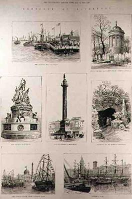 Sketches at Liverpool: The Prince's Landing Stage; The Huskisson Monument in St. James's Cemetery; The Nelson Monument; The Wellington Monument; Entra
