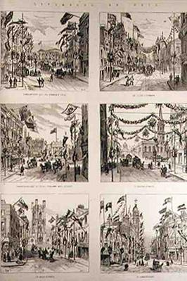 Liverpool en Fete: Lime Street and St. George's Hall; Church Street; Castle Street; Bold Street, from 'The Illustrated London News', 15th May 1886