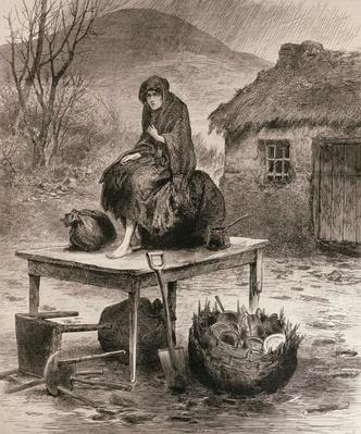 All That is Left: Scene at a Mayo Eviction, from a sketch by Claude Byrne, from 'The Illustrated London News', 17th April 1886