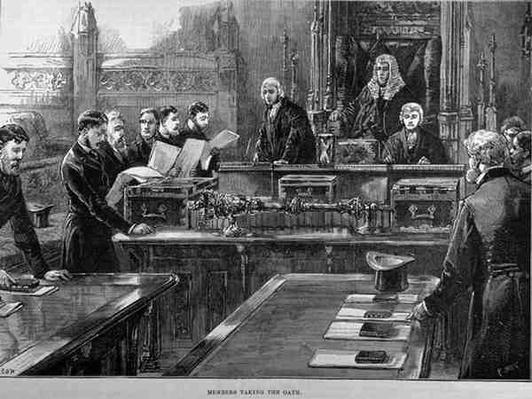 The Opening of Parliament: Members Taking the Oath, engraved by R. Taylor, from 'The Illustrated London News', 23rd January 1886