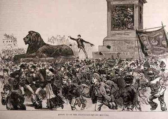 Riots in the West End of London: Break Up of the Trafalgar Square Meeting, from 'The Illustrated London News', 13th February 1886