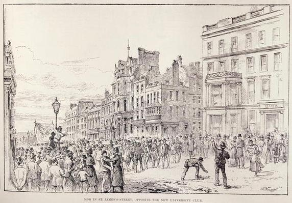 Riots in the West End of London: Mob in St. James's Street, Opposite the New University Club, from 'The Illustrated London News', 13th February 1886
