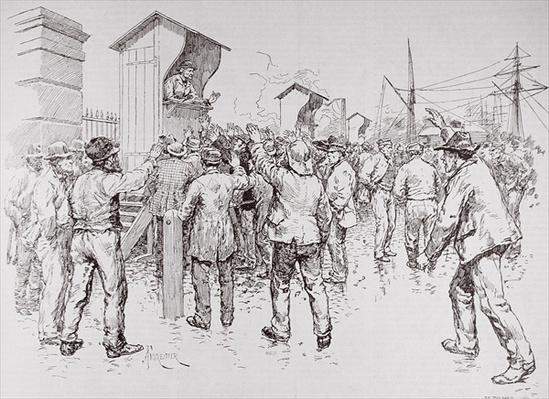 The Unemployed of London: Engaging Dock Labourers at the West India Docks, from 'The Illustrated London News', 20th February 1886