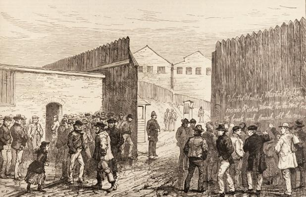 The Unemployed of London: Inscription on the Gates, West India Docks, from 'The Illustrated London News', 20th February 1886