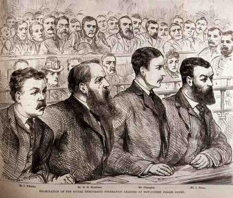 Examination of the Social Democratic Federation Leaders at Bow Street Police Court, from 'The Illustrated London News', 27th February 1886