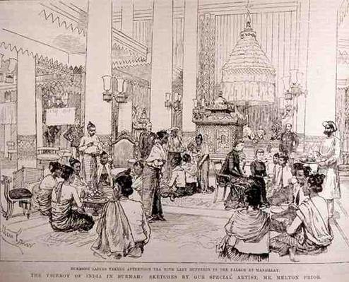 The Viceroy of India in Burmah: Burmese Ladies Taking Tea with Lady Dufferin in the Palace at Mandalay