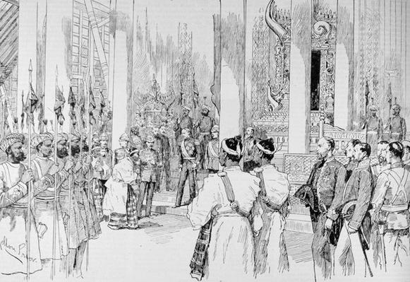 Lord Dufferin Holding Levee in the Grand Throne Room of the Palace at Mandalay, from 'The Illustrated London News', 4th March 1886