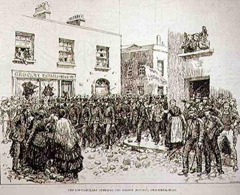 The Riots in Belfast: The Constabulary Entering the Orange District, Shankhill Road, from 'The Illustrated London News', 19th June 1886