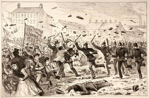 The Riots in Belfast: The Police Charging the Mob in the Brickfields, from 'The Illustrated London News', 19th June 1886