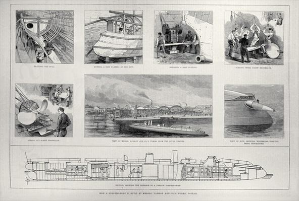 How a Torpedo Boat is Built at Messrs. Yarrow and Co.'s Works, Poplar, from 'The Illustrated London News', 27th march 1886