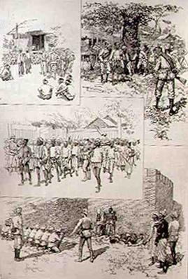 Sketches in Burmah: Searching for Dacoits; Finding Dacoits; Marching Dacoits to Prison; Shooting Dacoits Outside the City Walls at Mandalay