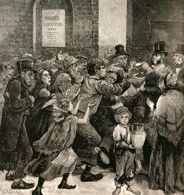 Relief of the Unemployed in London: Giving Out Soup Tickets, from 'The Illustrated London News', 13th March 1886