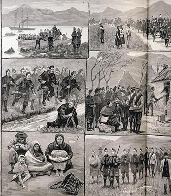 On Eviction Duty in Ireland: Sketches in Galway with the Military and Police Forces, from 'The Illustrated London News', 5th January 1886