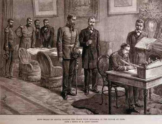 King Milan of Servia Signing the Peace with Bulgaria in the Konak at Nish, from 'The Illustrated London News', 4th March 1886