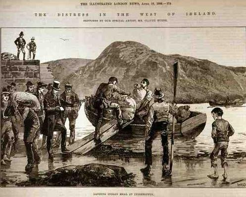The Distress in the West of Ireland: Landing Indian Meal at Inishboffin, from 'The Illustrated London News', 4th October 1886