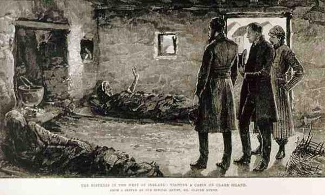 The Distress in the West of Ireland: Visiting a Cabin on Clare Island, from 'The Illustrated London News', 4th October 1886