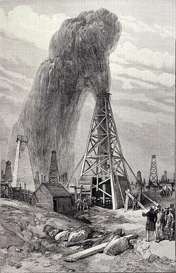 The Petroleum Oil Wells at Baku on the Caspian: A Fountain of Petroleum Oil, from 'The Illustrated London News', 6th December 1886
