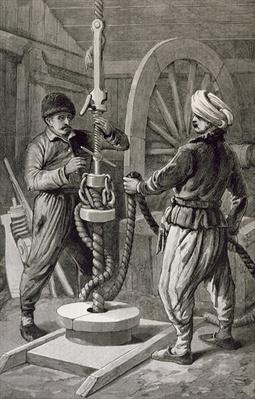 The Petroleum Wells at Baku on the Caspian: Boring a Petroleum Oil Well, from 'The Illustrated London News', 6th December 1886