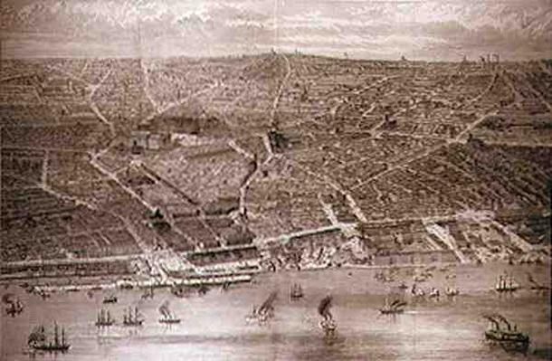 Bird's-Eye View of Liverpool from the Mersey with all the New Buildings, from 'The Illustrated London News', 15th May 1886