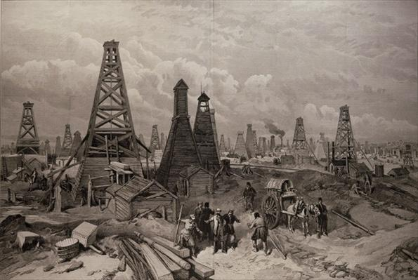 The Petroleum Oil Wells at Baku on the Caspian Sea, from 'The Illustrated London News', 19th June 1886