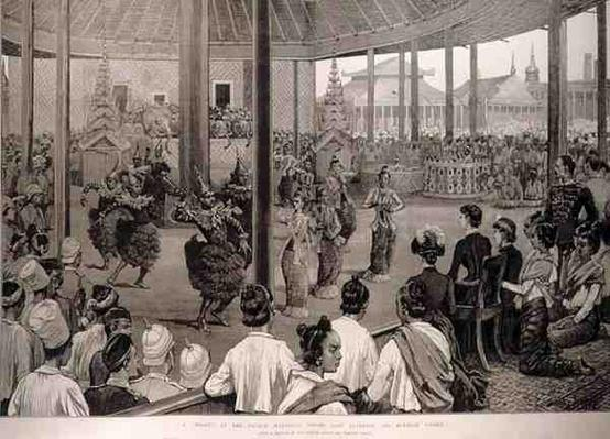 The British in Burmah: A Pooay at the Palace, Mandalay, Before Lady Dufferin and Burmese Ladies, from 'The Illustrated London News', 17th April 1886