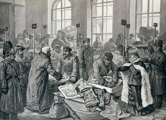 Custom House Officers Examining Passengers' Luggage from Germany