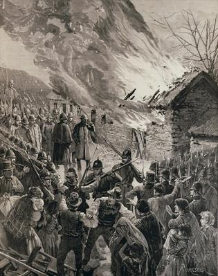 The Rent War in Ireland: Burning the Houses of Evicted Tenants at Glenbeigh, County Derry, from 'The Illustrated London News', 29th January 1887