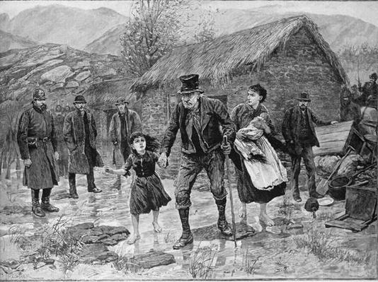 Scene at an Irish Eviction in County Kerry, from 'The Illustrated London News', 15th January 1887
