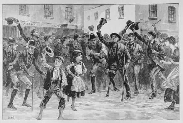 Cheering Lord Randolph Churchill's Name at Loughrea, on the Town Crier Announcing his Resignation, from 'The Illustrated London News', 8th January 1887