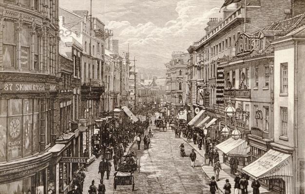 The Queen's Visit to Birmingham: The High Street, from 'The Illustrated London News', 2nd April 1887