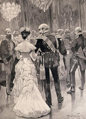 The King of Prussia at a Court Ball in 1862, Pointing Out Bismarck, his New Minister of State, from 'The Illustrated London News', 26th March 1887