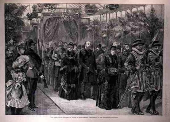 The Prince and Princess of Wales at Manchester: Procession in the Exhibition Building, from 'The Illustrated London News', 14th May 1887