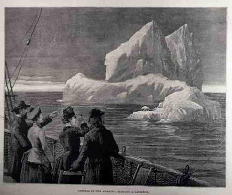 Icebergs in the Atlantic: Sighting a Castaway, from 'The Illustrated London News', 18th June 1887