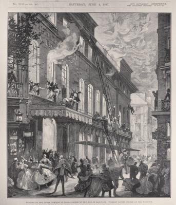 Burning of the Opera Comique in Paris