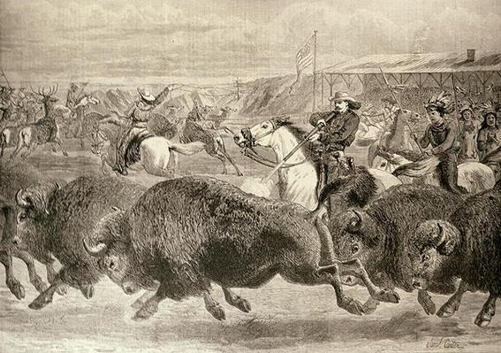 The 'Wild West' at the Great American Exhibition: Hunting Bison and Wapiti Deer, from 'The Illustrated London News', 18th June 1887