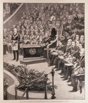 Grand Masonic Gathering in the Royal Albert Hall in Honour of the Queen's Jubilee, from 'The Illustrated London News', 18th June 1887