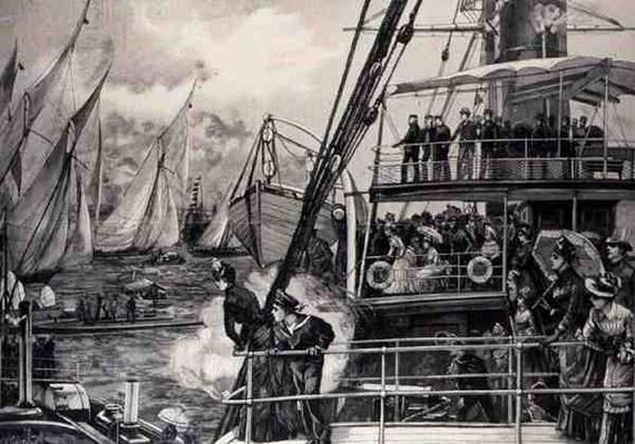 The Prince of Wales Starting the Jubilee Yacht Race, from 'The Illustrated London News', 25th June 1887