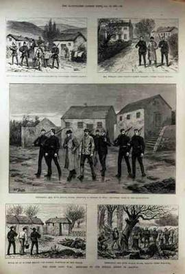 The Irish Land War: Serving Summonses on the Clanricarde Estate, Woodford, County Galway, from 'The Illustrated London News', 15th January 1887