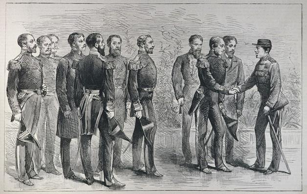 Reception of British Naval Officers by the Mikado of Japan, from 'The Illustrated London News', 7th May 1887