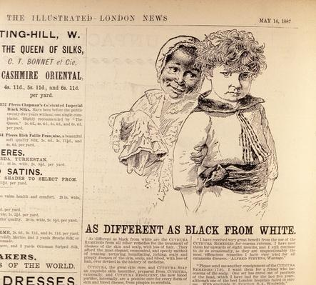 'As Different as Black from White', advertisement for 'Cuticura Remedies', from 'The Illustrated London News', 14th May 1887