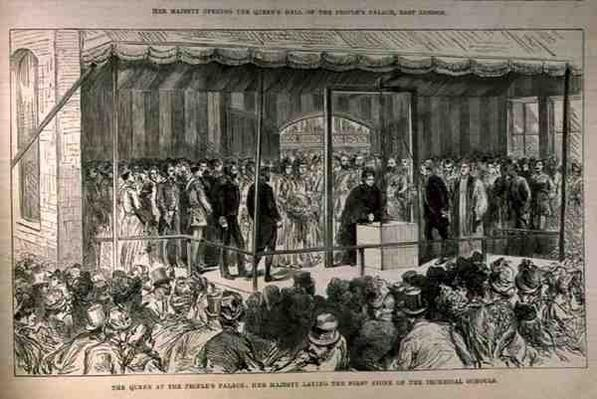 The Queen at the People's Palace: Her Majesty Laying the First Stone of the Technical Schools, from 'The Illustrated London News', 21st May 1887