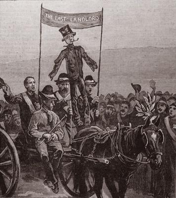 Demonstration on Mr Parnell's Estate, Avondale, Wicklow: The Effigy of the Last Landlord, from 'The Illustrated London News', 7th January 1882