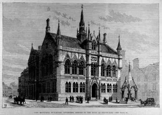 New Municipal Buildings, Inverness: Opened by the Duke of Edinburgh, from 'The Illustrated London News', 28th January 1882