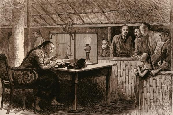 The Opium Traffic: Chinese Selling Opium, from 'The Illustrated London News', 4th February 1882