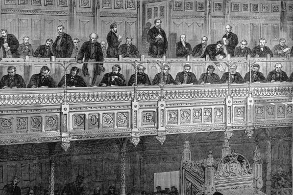 The House of Commons: The Reporters' Gallery, from 'The Illustrated London News', 18th February 1882