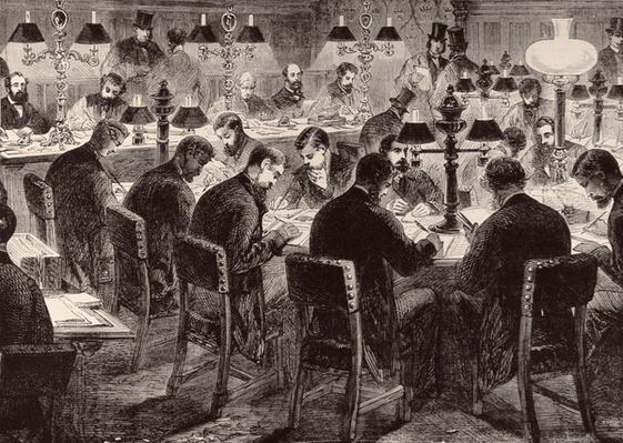 The House of Commons: The Reporter's Room, from 'The Illustrated London News', 18th February 1882