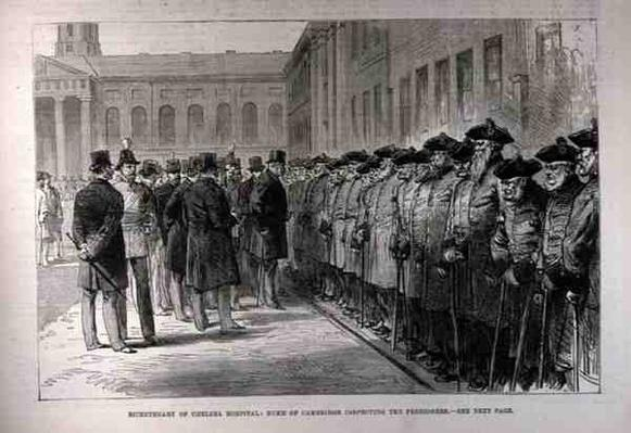 Bicentenary of Chelsea Hospital: Duke of Cambridge Inspecting the Pensioners, from 'The Illustrated London News', 25th February 1882